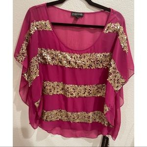 Pink Top With Gold Sequin - Rampage
